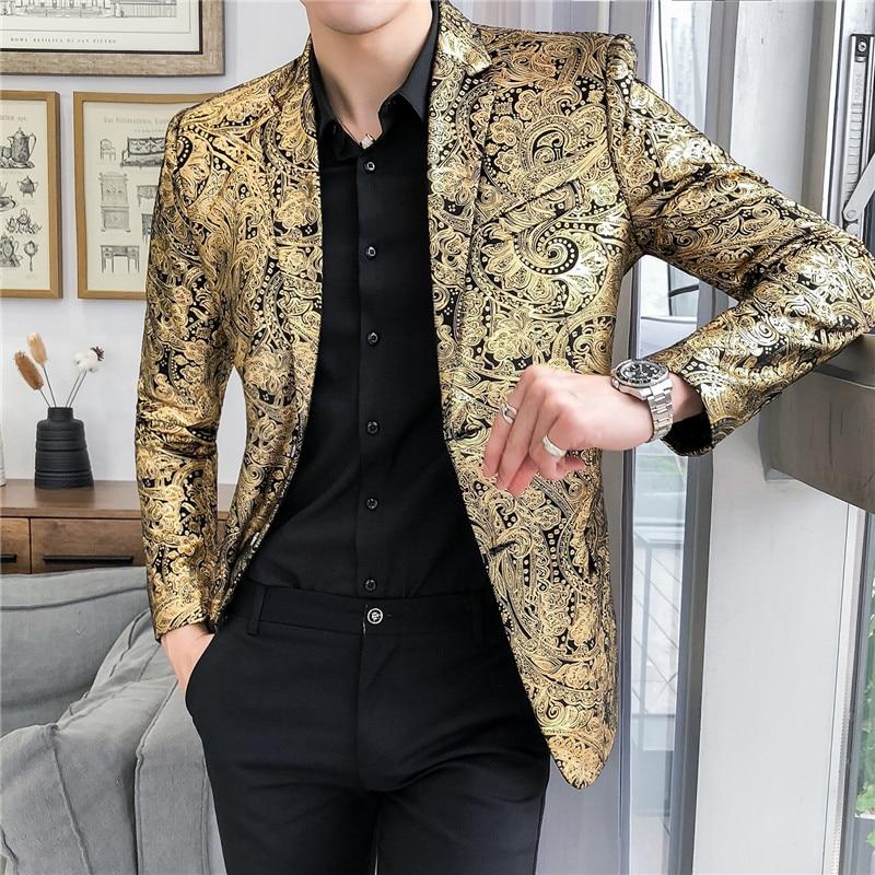 Luxury Gold Striped Print Blazer Street Casual Men's Slim Suit Jacket Nightclub Prom Dress Evening Dress Sleek Suit Jacket M-5XL