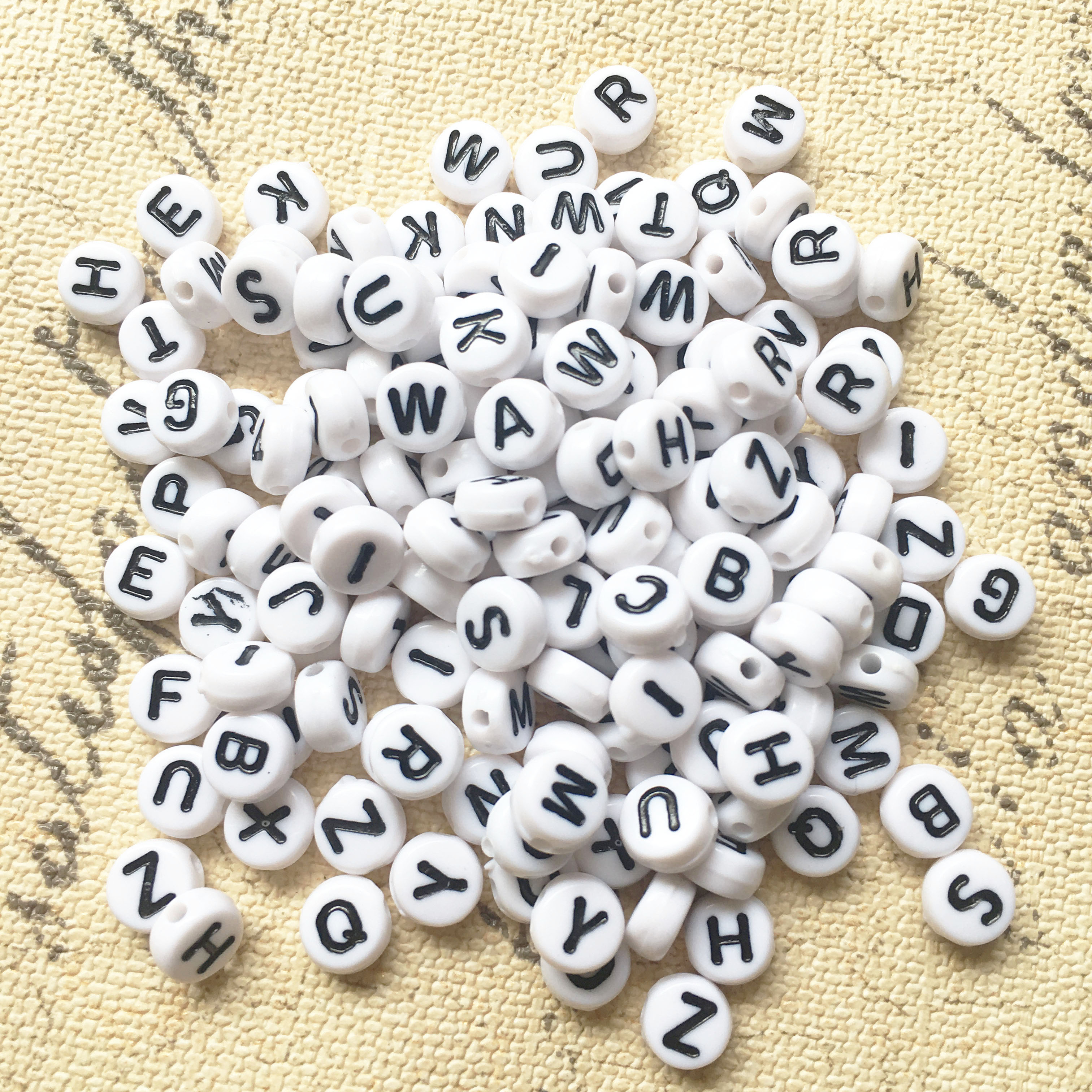 Mini Order 100pcs Acrylic Letter Beads 4 7mm White With Black