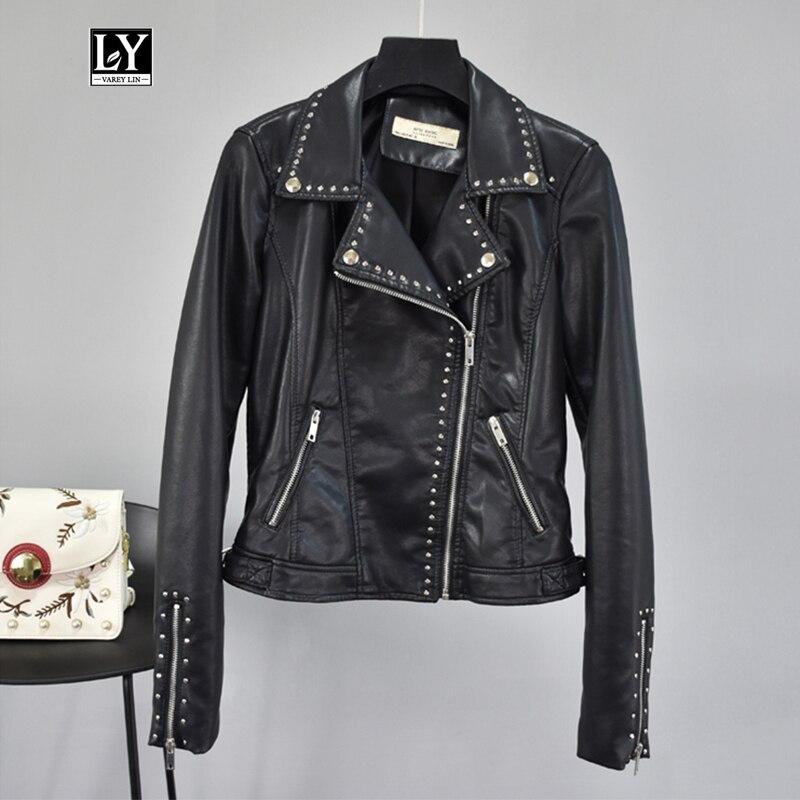Ly Varey Lin Autumn Women Faux Soft   Leather   Pu Motorcycle Rivet Zipper Jackets Female Black Red Punk Turndown Collar Outwear