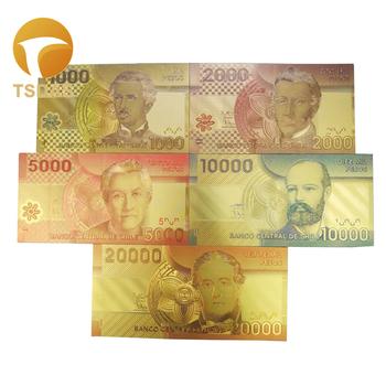 Nowy Chile złoty banknot zestaw 5 sztuk w kolorze 1000-20000 Pesos Gold Note tanie i dobre opinie TSDAS Patriotyzmu Pozłacane Antique sztuczna fake banknotes souvenir banknotes 24k gold banknote gold foil banknote gold banknote set