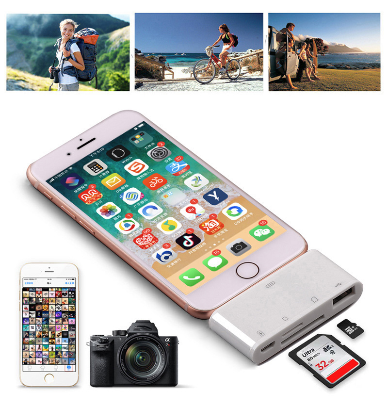 4in1 OTG Card Reader IOS Phone SD TF Memory Card Writer USB 2.0 Camera Connection Kit Adapter For IPhone X XS MAX XR 6 7 8 IPad