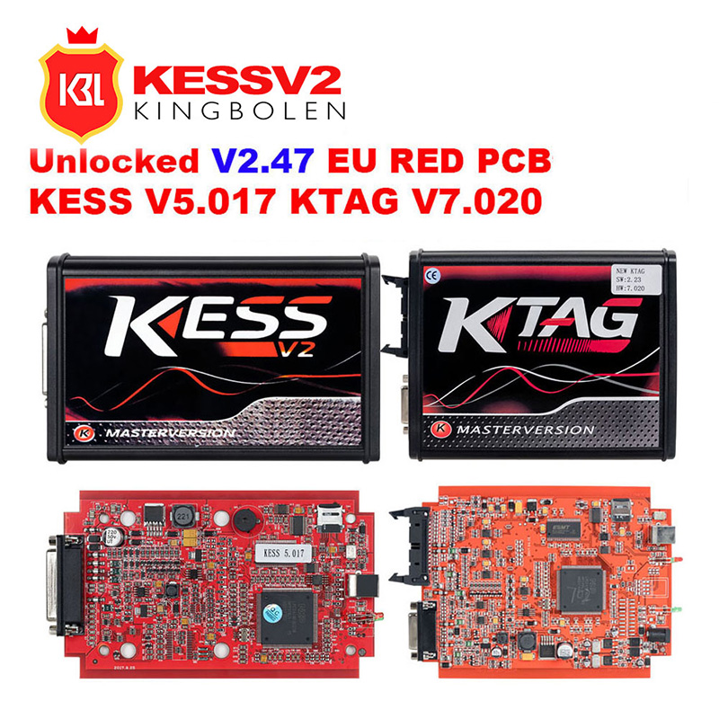 Red KESSv2 V5.017 V2.47 KTAG V7.020 V2.25 No Token Limit 4 LED ECU Programmer Tool KESS V2 V5.017 KTAG V7.020  For Car Truck