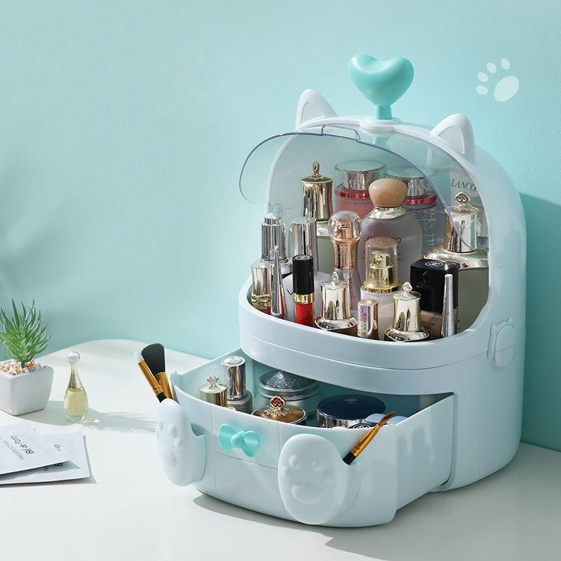 JULY'S SONG boîte de rangement de maquillage en plastique en forme de chat organisateur cosmétique contenant de maquillage mallette de rangement avec poignée