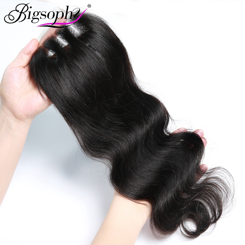 Bigsophy Brazilian 4x4 Lace Closure Human Hair Body Wave Straight Hair Weaving Natural Color 613 Remy Hair Swiss With Baby Hair