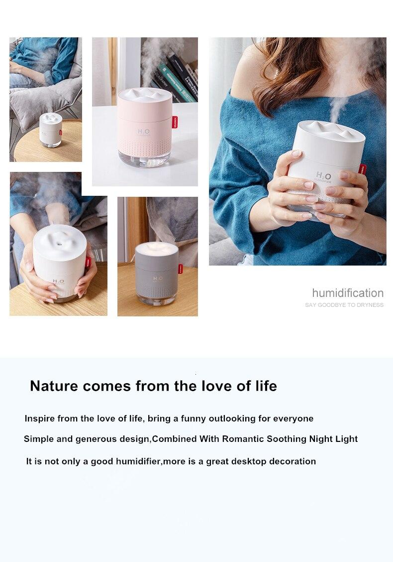 Hd493bccb8ac5429bbbd3687b5de7b7d38 - Portable Ultrasonic Humidifier 500ML Snow Mountain H2O USB Aroma Air Diffuser With Romantic Night Lamp Humidificador Difusor