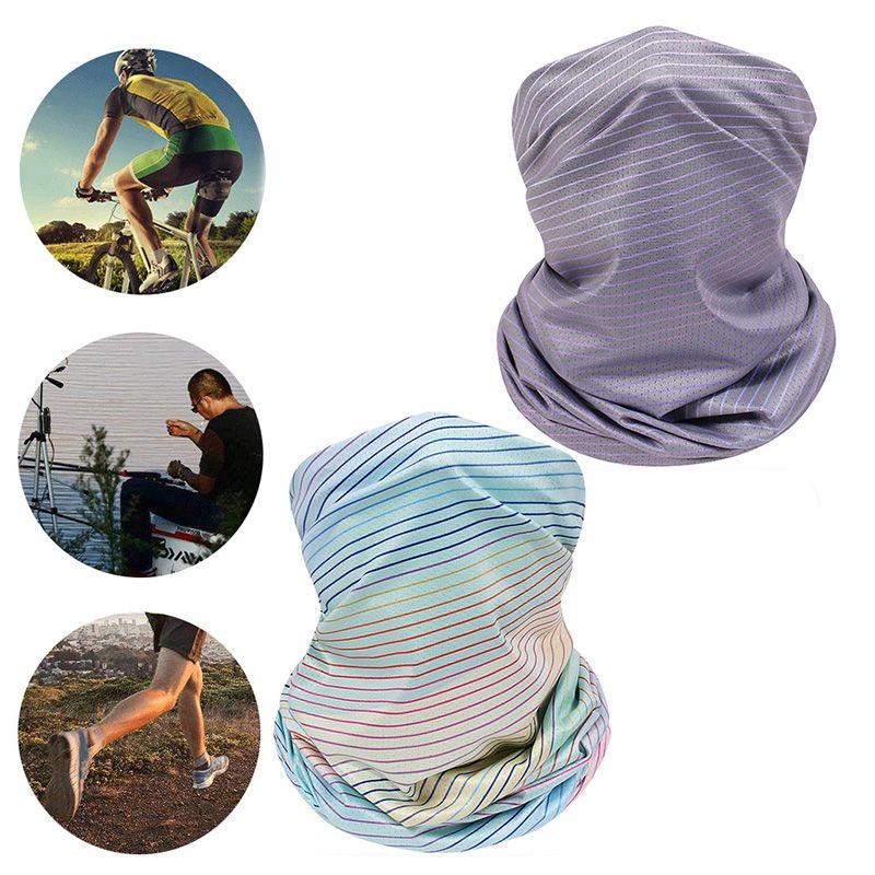4Pcs Neck Gaiter Face Mask Tie-Dye Rainbow Stripes Sunscreen Mesh Bandana Scarf
