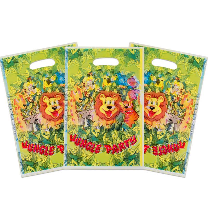 20 sztuk/partia Cartoon Lion prezent torba baby shower kid birthday party decor cukierki torba jungle zaopatrzenie firm jednorazowe plastikowe torby