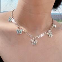Женское винтажное ожерелье flatfoosie кулон в виде бабочки серебристого
