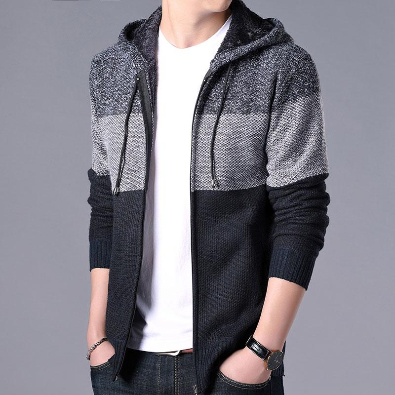 2020 Thick Cardigan Mens Sweater Zipper Striped Hooded Colorblocking Fashion Warm Slim Knitted Sweater Male Fleece Hoodies Coats 4
