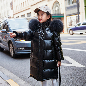 Image 2 - Russia Snowsuit 2020 childrens Winter Down Jacket for Girls Clothes waterproof Outdoor hooded coat Kids parka real fur clothing