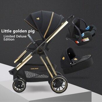 Luxury Baby Trolley High landscape stroller 3 in 1 Babt Pram Two-way Portable kid car