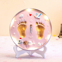 Luz Baba huella huellas de color arcilla recuerdo recién nacido recuerdos para bebés arcilla de modelado plastilina mano pie bebé Diy regalo