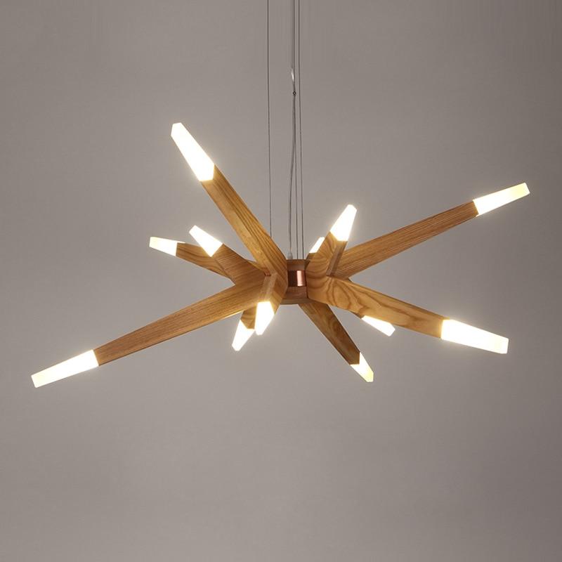Japan Style Wood Acrylic LED Pendant Lights Lighting Polaris Pendant Lamp Dining Living Room Bedroom Kitchen Aisle Hanging Lamp