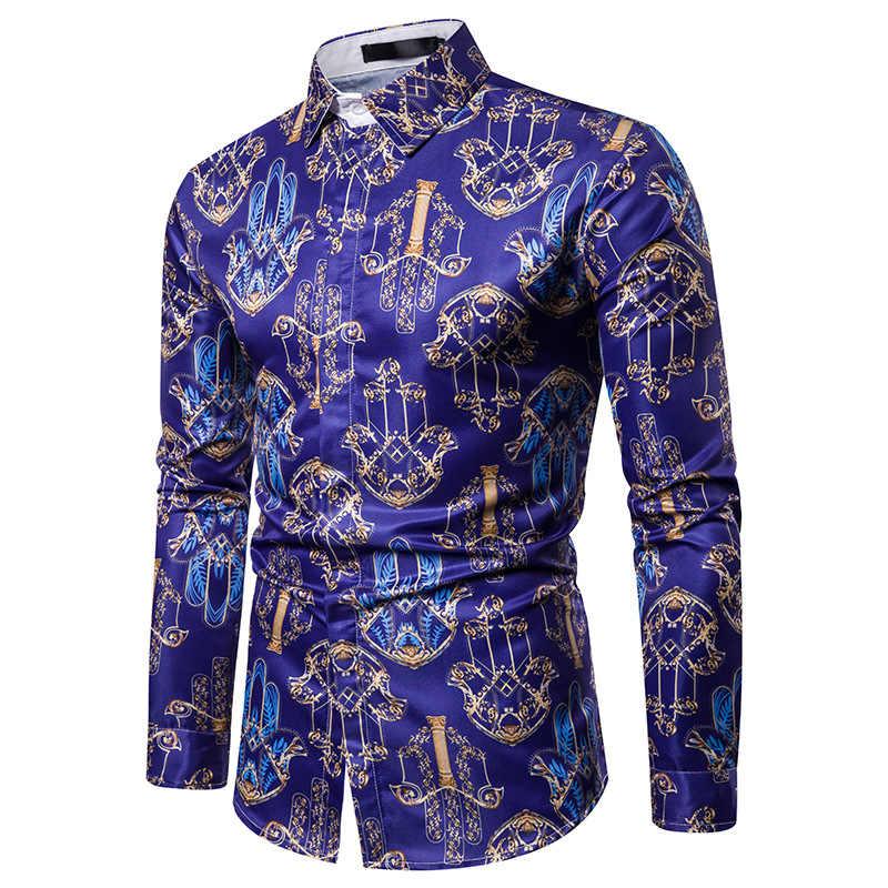 Moda camisa de lujo hombres Chemise Homme 2019 nuevo hombre Casual botón abajo vestido camisas escenario Show graduación hombres barroco camisa 3XL