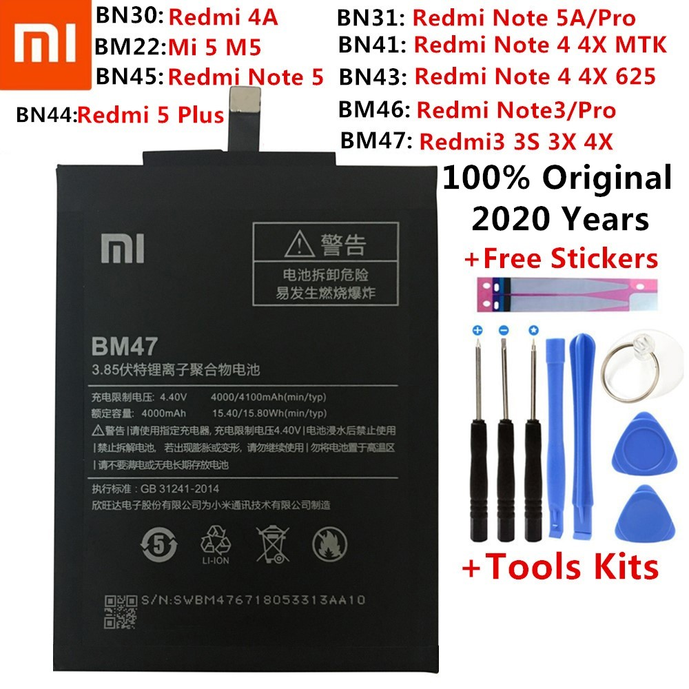 Original XiaoMi Replacement <font><b>Battery</b></font> For Xiaomi Redmi Note 2 3 3S 3X 4 4X 4A 5 5A 6 6A 7 Pro Plus Mi6 Mi4c Mi5 <font><b>Mi</b></font> 5X <font><b>5S</b></font> <font><b>Batteries</b></font> image