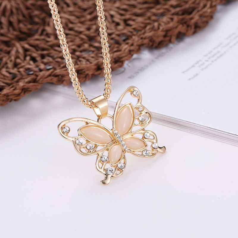 Women's Long Chain Necklace Exquisite Opal Stone Openwork Butterfly Opal  Butterfly Pendant Valentine's Day Gift Party Favor