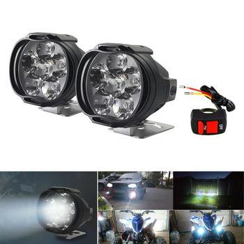 цена на 12V Car Motorcycle Bike Waterproof LED External Lights Fog Light Headlight Lamp 5700K-7000K white light +Switch ON-OFF
