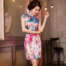 2019 Top Fashion Watercolor Slim Skirt Restoring Ancient Ways Is The Autumn Agent Cheongsam Wholesale Wind Cultivate Morality