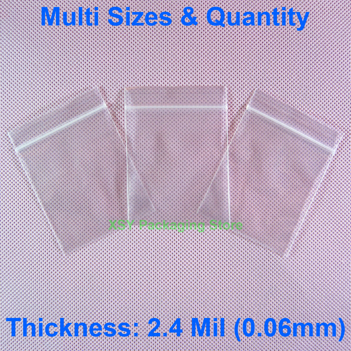 2.4 Mil Clear Zipper Poly Ziplock Bag EXTERIOR SIZE (Width 4