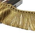 Оплетка с бахромой для отделки штор длиной 2 метра, обивка с золотыми кисточками длиной 11 см, роскошные Украшенные аксессуары «сделай сам»