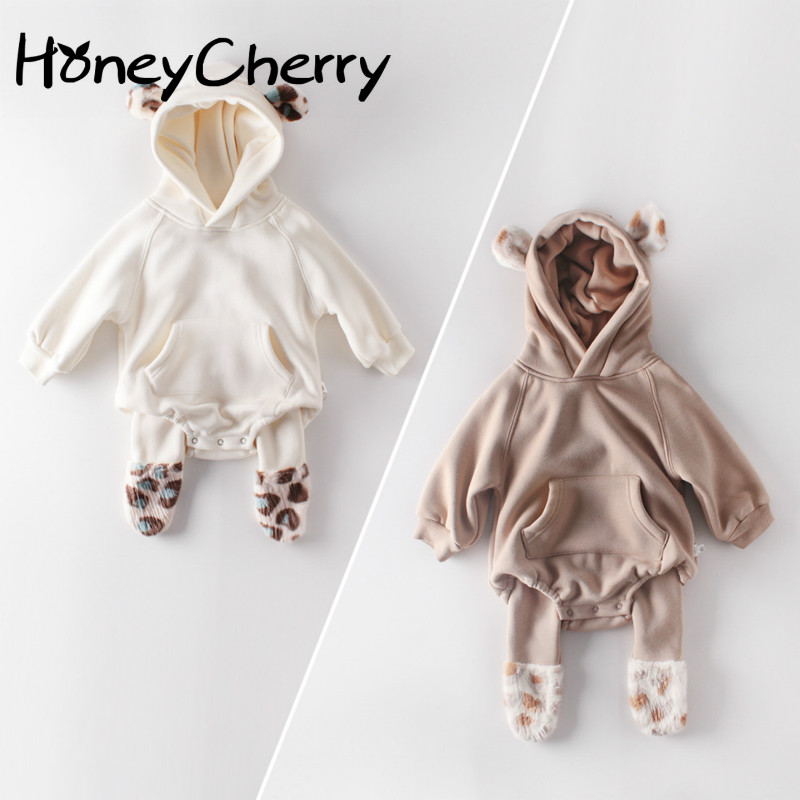Winter Baby Girl Bodysuits Baby Plush Ears Baby Newborn Clothes Hooded Bodysuit Climbing Clothes Plush Thickened