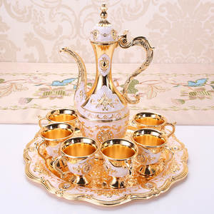 8-piece white wine glass wine dispenser household small wine glass wine set western-style metal hip flask high-end decoration