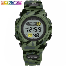 SYNOKE Sports Military Kids Digital Watches Student Childrens Watch Fashion Luminous Led Alarm Camouflage Green Boy Clock