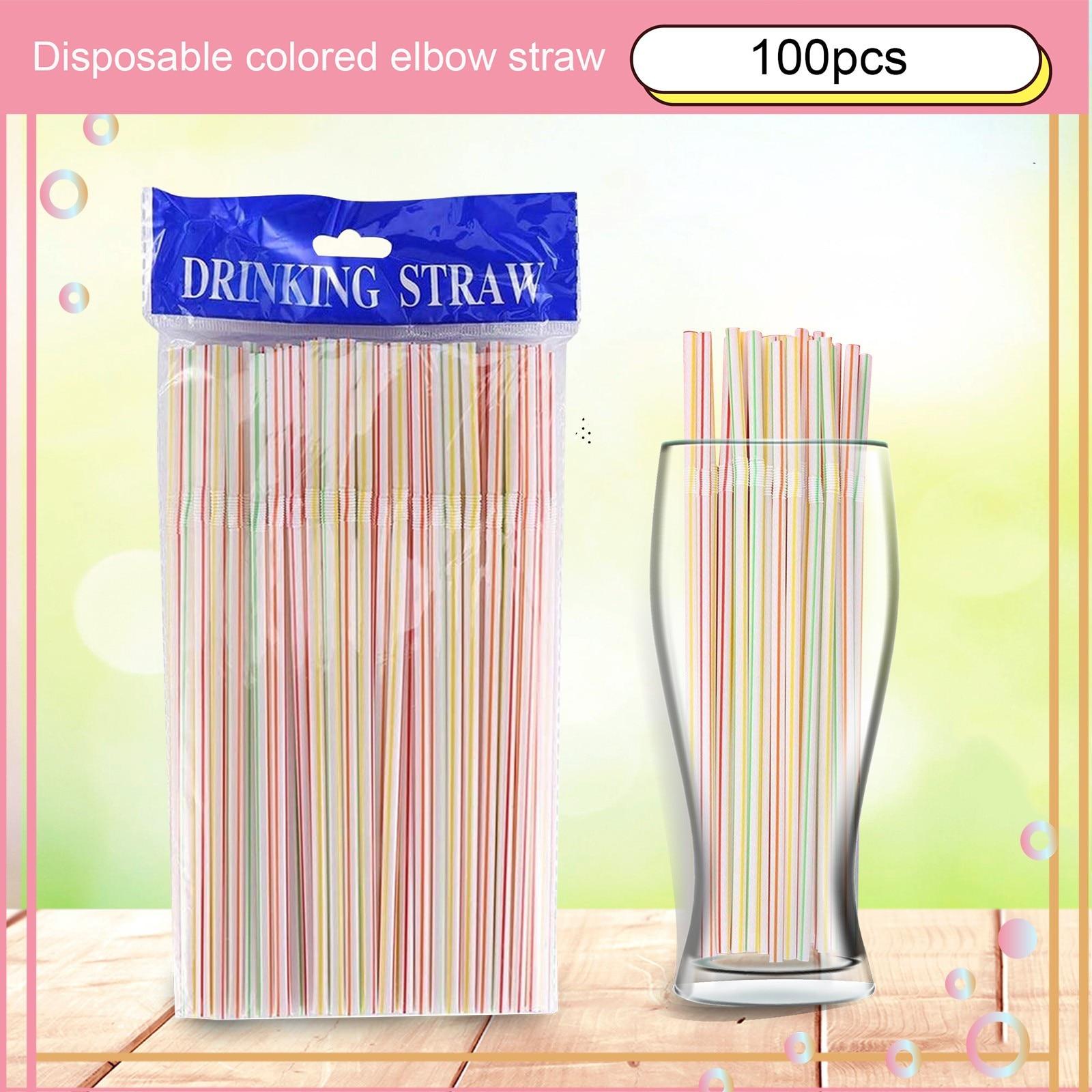 Одноразовые Цветные соломинки из локтя удлиненные и гибкие соломинки для сока, напитков, молока, чая, 100 шт. товары для дома и кухни #43
