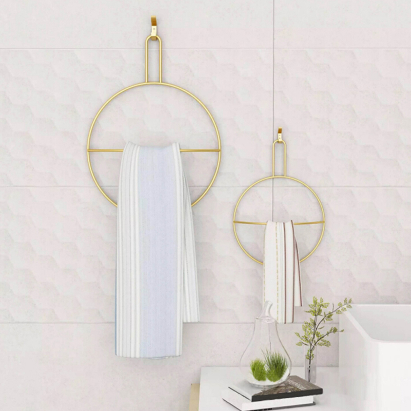 Nordic Round Towel Rack Wall-mounted Gold Bath Towel Ring Rack Scarf Clothes Storage Hanger Home Model Room Decoration Organizer