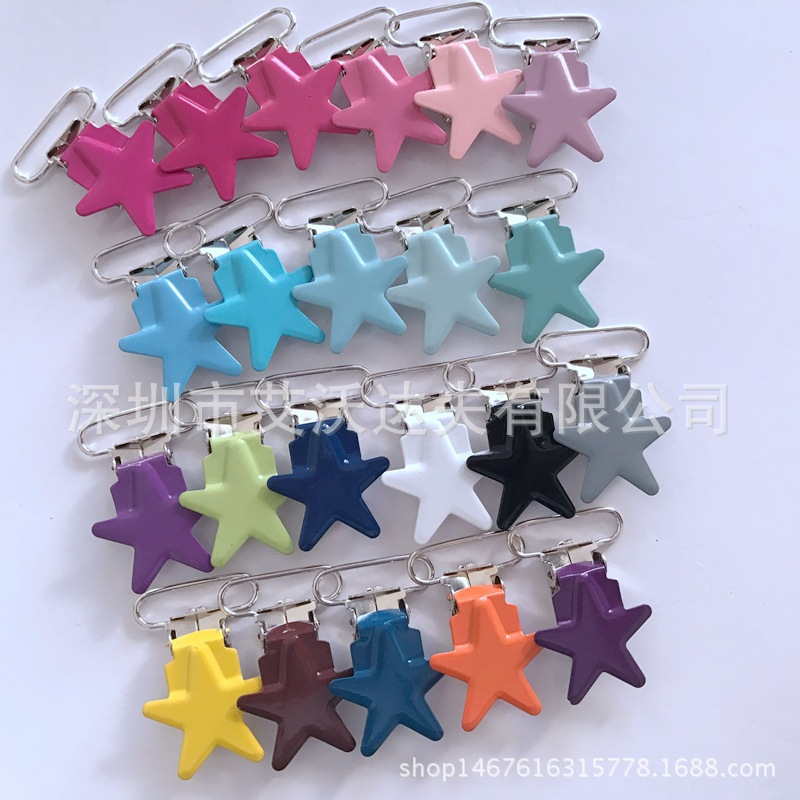 Pacifier Clip Manufacturers Direct Selling Five-pointed Star Duckbill Clip Baking Varnish Five-pointed Star 25 Mm Bei Dai Jia