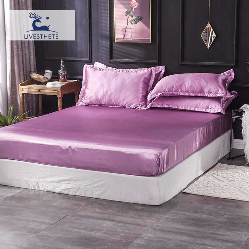 Liv Esthete 1PCS Luxury Fitted Sheet Bed Sheet On Elastic Band Mattress Cover Rubber Sheet Bed Linen Euro Decoration Bedclothes in Sheet from Home Garden