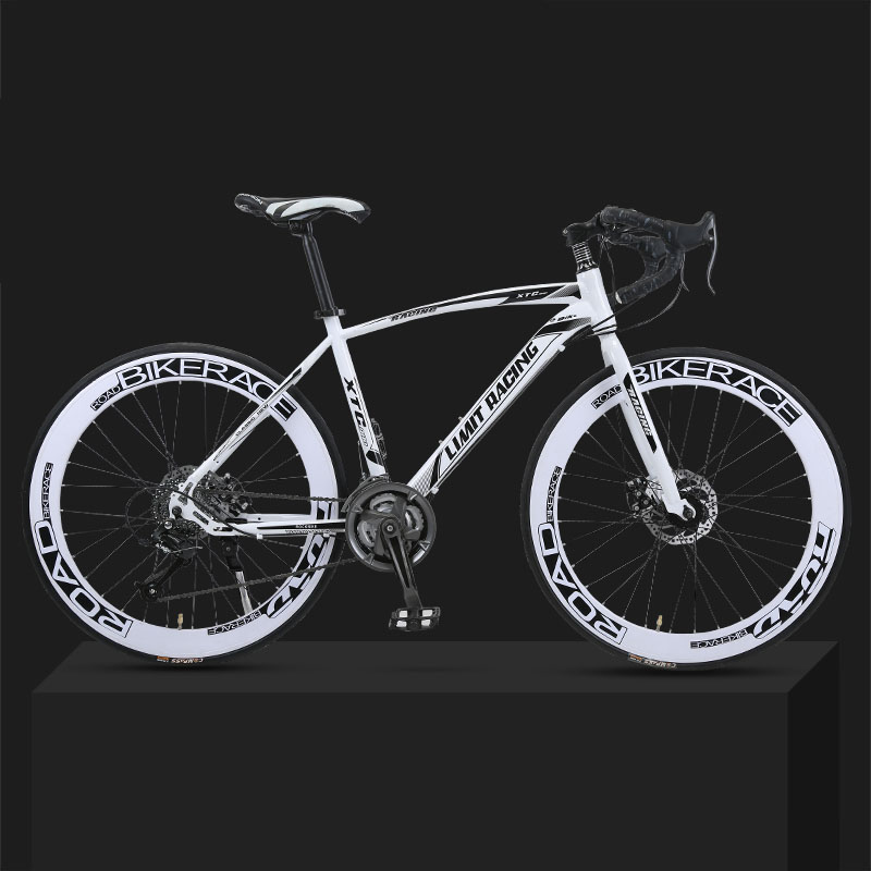 26-inch 27 Speed Road Bicycle Dead-Flying Front And Rear Mechanical Disc Brake 60 Knife Wheel Solid Tire Student Adult
