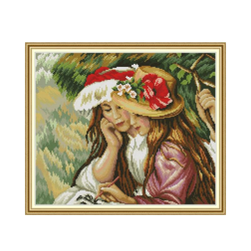 Girls 2 cross stitch kit aida 14ct 11ct count print canvas cross stitches   needlework embroidery DIY handmade|Package|   - AliExpress