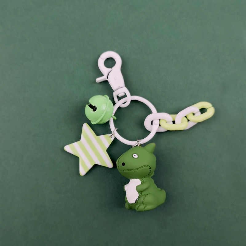 Llavero pequeño dinosaurio de dibujos animados de moda 2019 llavero de PVC para mujer bolso encanto llavero colgante regalos para niña llavero