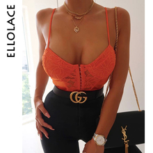 Ellolace Bodycon Lace Bodysuit Women with Buckle Female Patchwork Bodys Fitness Mesh Transparent Overalls Sexy New
