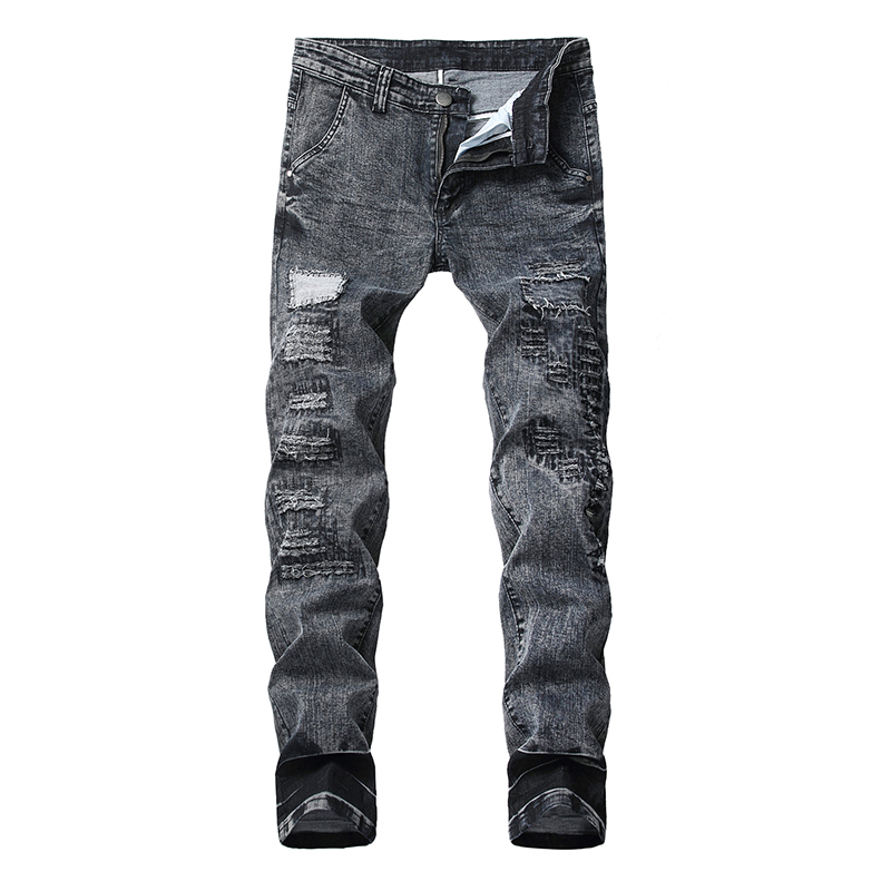 Sokotoo Men's Gray Black Holes Ripped Stretch Jeans Plus Size Patchwork Slim Straight Denim Pants