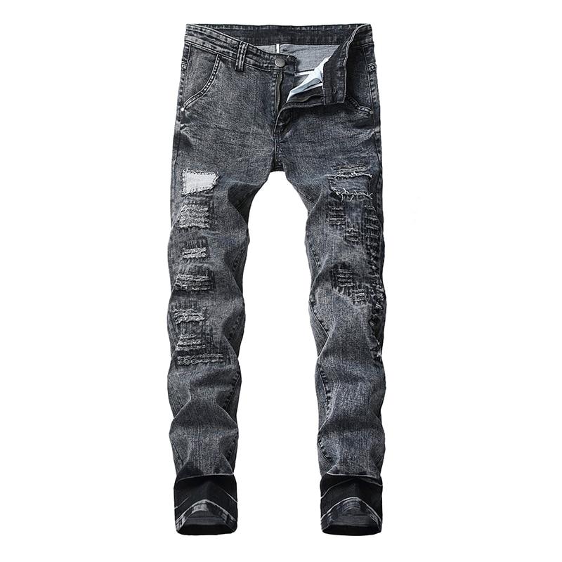 Sokotoo Men's Gray Black Holes Ripped Stretch Jeans Plus Size Patchwork Slim Straight Denim Pants