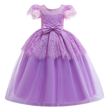 Ball Gown Princess Dress for Girls Flower Lace Pleated Long Dress Wedding Bridesmaid Dresses for Kids Cute First Communion Dress white lace girls first communion dress ball gown birthday dress half sleeve long princess flower girls dresses for wedding