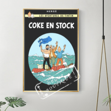 Coke en Stock mar flotante Tintin adventure Comics Retro Vintage cartel clásico lienzo adhesivo artístico de pared Bar decoración del hogar regalo