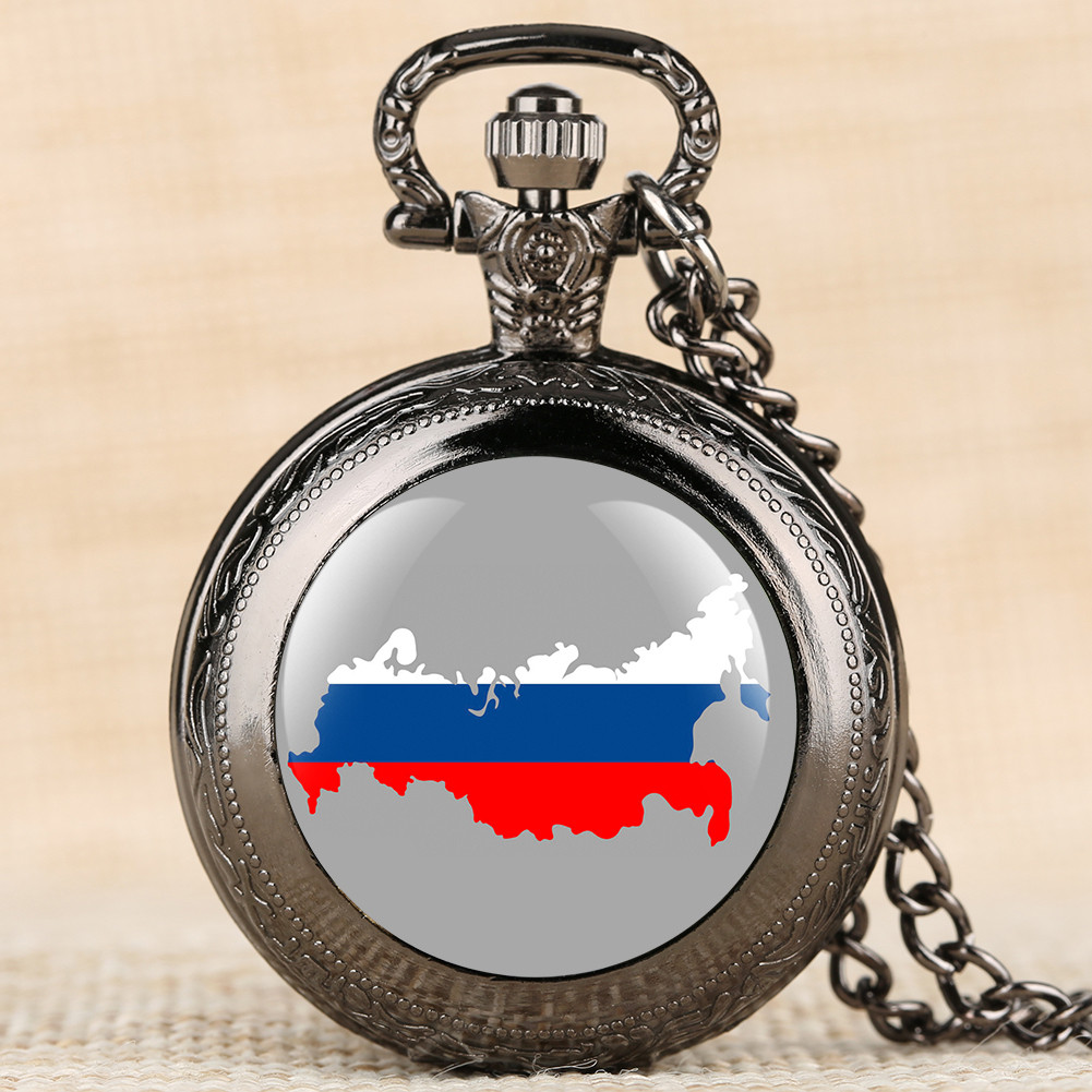 Russian Map Display Quartz Necklace Watch Collection Gifts Clock Men Women Antique Pendant Pocket Timepiece with Sweater Chain