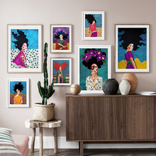 Abstract Girl Retro Flower Wall Art Print Canvas Painting  Nordic Posters And Prints Pictures For Living Room decor