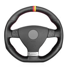 Черный pu искусственная кожа Чехол рулевого колеса автомобиля