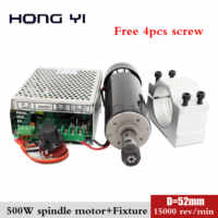 52mm clamps Air cooled 0.5kw Air cooled spindle ER11 chuck CNC 500W Spindle Motor + Power Supply speed governor For DIY CNC