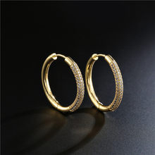 2020 New Luxury AAA+ CZ Female Wedding Earrings Hot Sale Gold Color Round Hoop Earring For Women Femme Brinco Wholesale