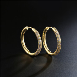 2020 New Luxury AAA+ CZ Female Wedding Earrings Hot Sale Gold Color Round Hoop Earring For Women Femme Brinco Wholesale