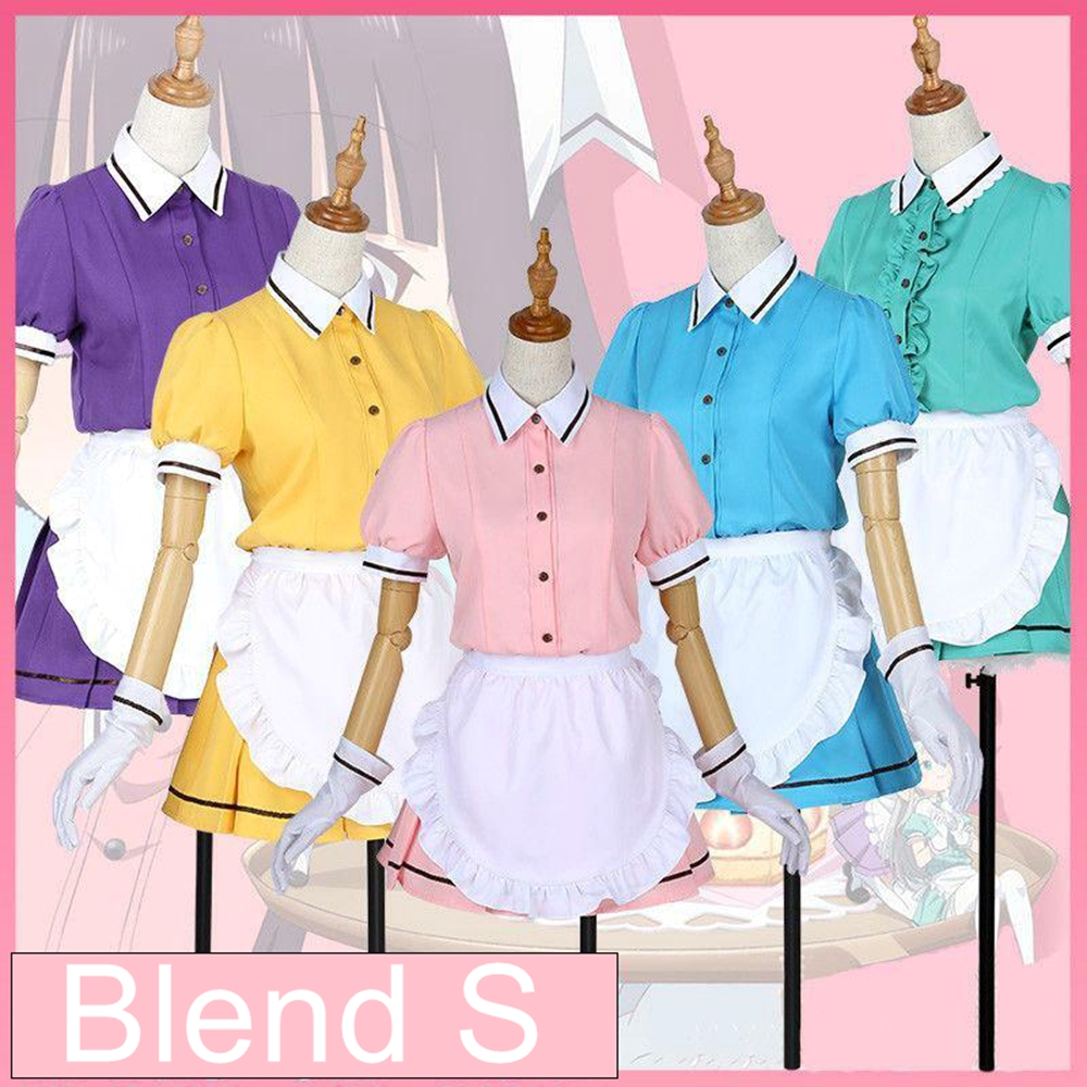 Blend S Maika Sakuranomiya Kaho Hinata Mafuyu Hoshikawa Miu Amano Hideri Kanzaki Maid Dress Uniform Women Girl Cosplay Costume