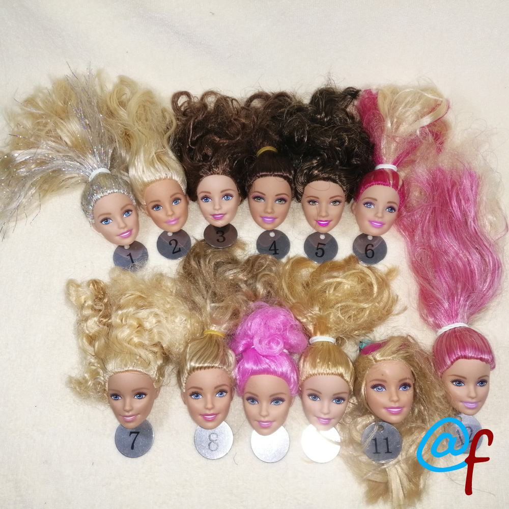 B20-17  Original Foreign Trade European Beauty1/6 OOAK NUDE Doll Head Mussed Long Hair For DIY Soft PVC Head  90%NEW