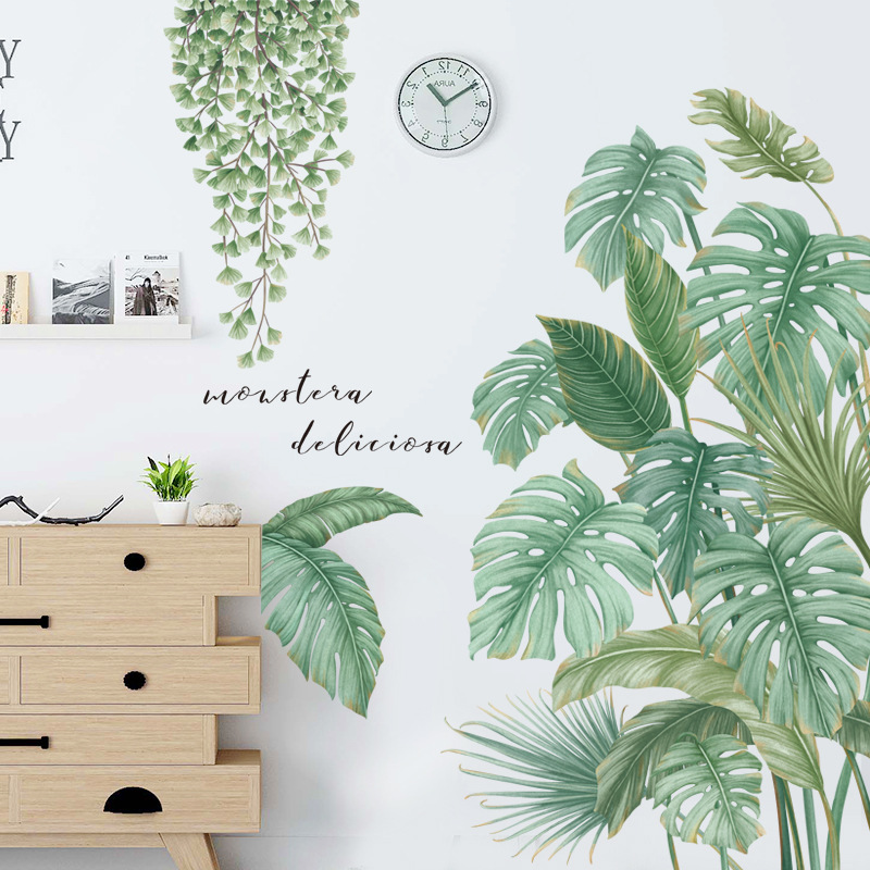 24 styles Green Leaves Wall Stickers for Bedroom Living room Dining room Kitchen Kids room DIY Vinyl Wall Decals Door Murals 2
