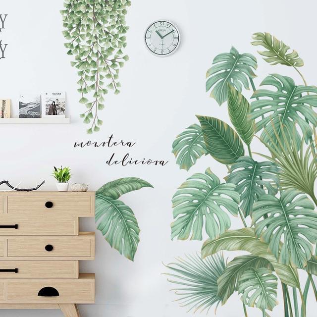 24 styles feuilles vertes Stickers muraux pour chambre salon salle à manger cuisine enfants chambre bricolage vinyle Stickers muraux porte peintures murales