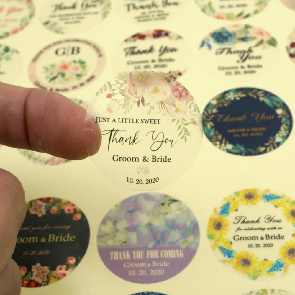 96Pcs 3cm Personalized Transparent Wedding Sticker Your Names And Date Wedding Engagement Anniversary Round Party Favors Labels